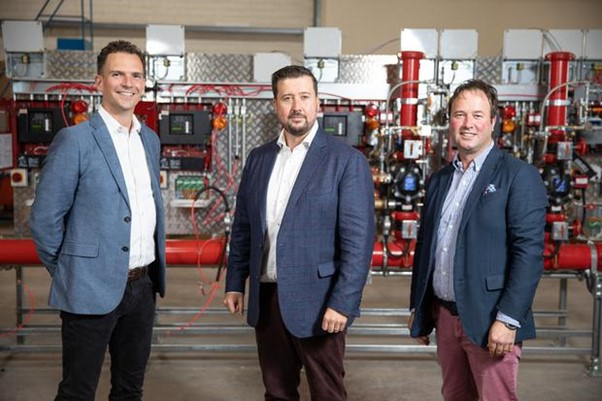 Writech Blog PhotoWaterland investment chief Donal Mac Nioclais (left) with Writech CEO Ted Wright (centre) and MD Alan Wright